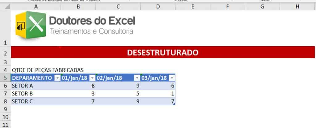 Dado DESESTRUTURADO do Excel
