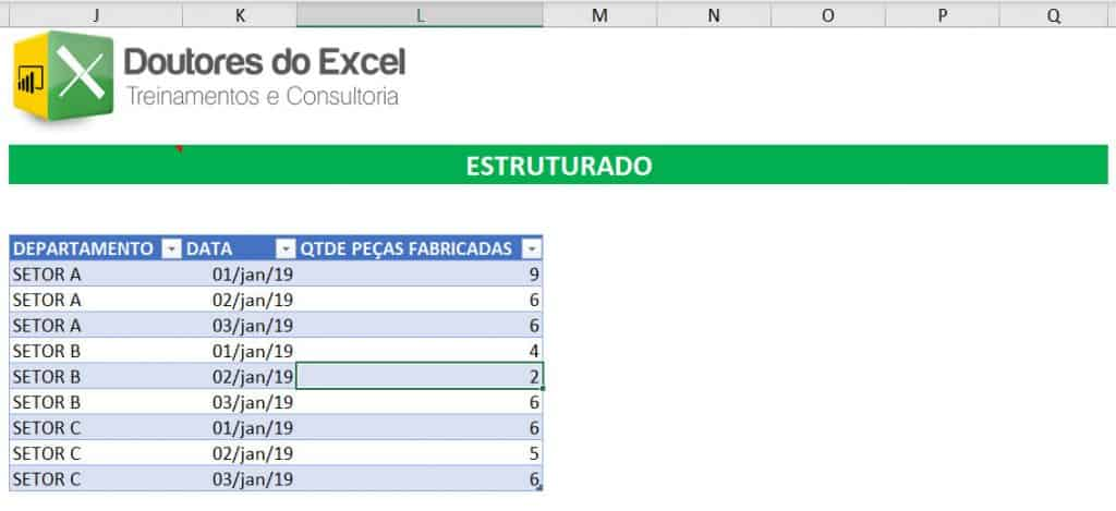 Dado DESESTRUTURADO do Excel 02