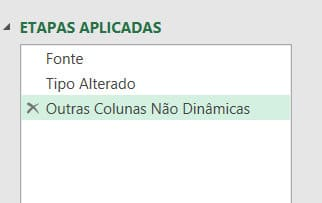 Etapas aplicadas do Power Query